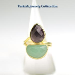 【売り尽くし半額セール】アメジスト&カルセドニー ターキッシュ2ストーンリング2 パワーストーン 指輪フリーサイズ 2月誕生石 天然石|cornucopia