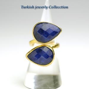 【売り尽くし半額セール】ラピスラズリ ターキッシュ2ストーンリング3 パワーストーン 指輪フリーサイズ 天然石 12月誕生石 |cornucopia