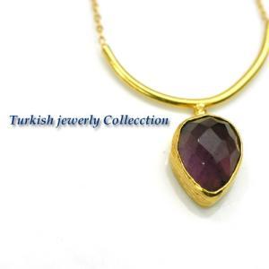 アメジストネックレス1 パワーストーン ターキッシュネックレス 天然石 トルコイスタンブールのハンドクラフトジュエリー |cornucopia