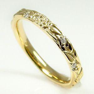 シンプルバラモチーフリング天然ダイヤモンドK1...の詳細画像1