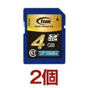 SDカード 4GB class10 秒速最大20MB TEAM チーム SDHC TG004G0SD28K 2個セット|coroya