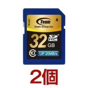 SDカード 32GB class10 秒速最大20MB TEAM チーム SDHC TG032G0SD28K 2個セット|coroya