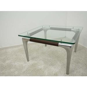 【Ritzwell(リッツウェル)】SIテーブル サイドテーブル ガラス天板 アルミ 60×60|correr