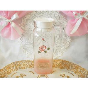 【マニーローズ】 ガラス ピッチャーB 1リットル / 日本 薔薇 ストックポット 冷茶 出汁ポット 花柄 ピンク ジャグ corrette-anise