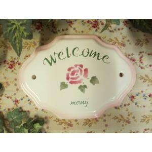 【マニーローズ】 ドアプレート ウエルカム / 玄関 いらっしゃい ようこそ ピンク サイン|corrette-anise