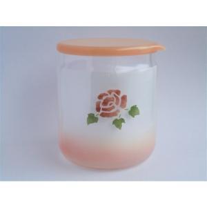 【マニーローズ】 ガラス テーブルキャニスター Lサイズ / 薔薇 保存 ピンク 日本製 corrette-anise