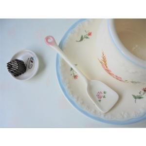 【マニーローズ】 アイススプーン / 日本製 薔薇 食器 カトラリー バラ柄 花柄 ピンク 陶器 corrette-anise