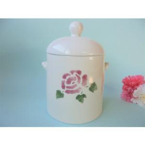 【マニーローズ】 サニタリーポット 陶器 / 日本製 薔薇 容器 バラ柄 花柄 トイレ corrette-anise