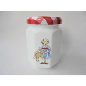 【マニー プチメゾン】 ガラス ミルクガラスのジャム瓶 / 保存 ミニ ジャムビン 日本製 白 容器 入れ物 チェック 朝食 パン|corrette-anise