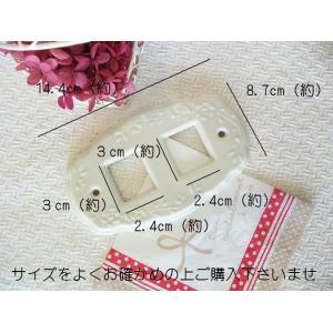 【マニー】 ローズレリーフ スイッチプレート アイボリー 2ヶ口 / 日本製 陶器 つるつる シンプル|corrette-anise