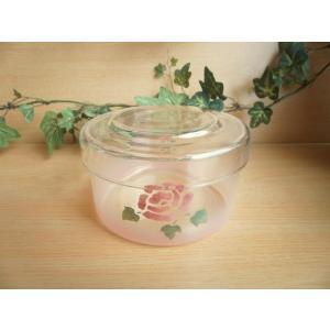 【マニーローズ】 ガラス キャニスターL / 薔薇 ピンク 小物入れ 容器|corrette-anise