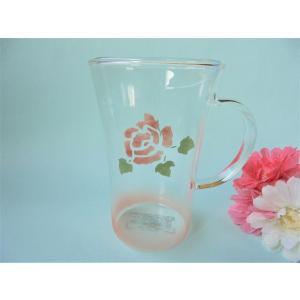 【マニーローズ】 ガラス 耐熱トールマグ / 薔薇 ピンク|corrette-anise