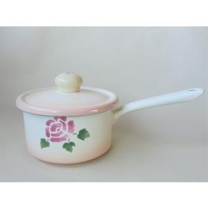 【マニーローズ】 ホーロー スープパン / 日本製 薔薇 鍋 片手鍋 蓋付き 花柄 ピンク|corrette-anise