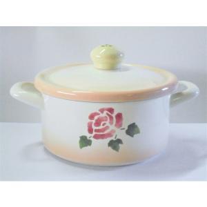 【マニーローズ】 ホーロー クラシックパンL / 日本製 薔薇 両手鍋 バラ柄 花柄 ピンク フタ付き 20cm未満|corrette-anise