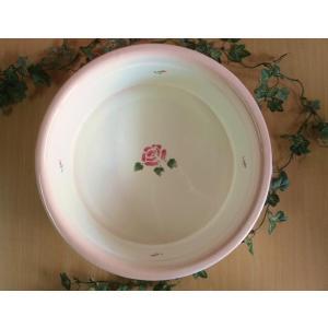 【マニーローズ】 ホーロー ラウンドウォッシュタブ / 日本製 薔薇 洗い桶 楕円 バラ柄 花柄 ピンク corrette-anise