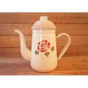 【マニーローズ】 ホーロー コーヒーポット / 薔薇柄 日本製 ピンク やかん corrette-anise