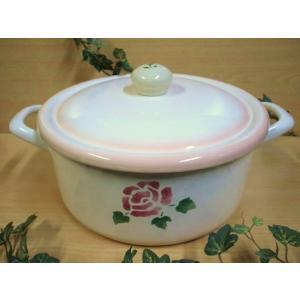 【マニーローズ】 ホーロー クラシックパンLL / 日本製 薔薇 両手鍋 バラ柄 花柄 ピンク フタ付き|corrette-anise