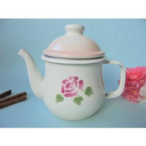 【マニーローズ】 ホーロー チャイポット / 薔薇柄 日本製 ピンク 茶こし付き 急須 ランチ お茶の時間 スイーツ おやつ corrette-anise