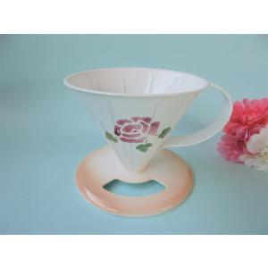 【マニーローズ】 ホーロー ドリッパー メリタ方式 / 薔薇柄 日本製 ピンク 一つ穴 コーヒー corrette-anise