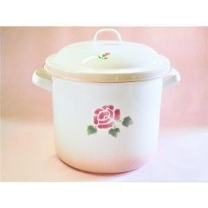 【マニーローズ】 ホーロー ストッカー20cm / 薔薇柄 保存容器 日本製 大きめ ピンク|corrette-anise