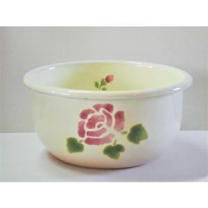 【マニーローズ】 ホーロー ディープボウル S / 薔薇柄 日本製 ピンク 調理ボール|corrette-anise