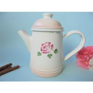 【マニーローズ】 ホーロー ミニコーヒーポット / 薔薇柄 日本製 ピンク 400ml corrette-anise