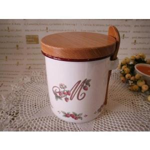【マニー レールデュロココ】 ホーロー ラウンドキャニスター / 日本製 イチゴ ストロベリー 保存容器 パッキン フタ付き スプーン付き|corrette-anise