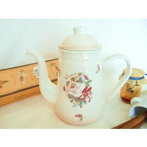 【マニー ダミティエ】 ホーロー コーヒーポット・CP(縦型ケトル) / 日本製 薔薇 パンジー やかん|corrette-anise