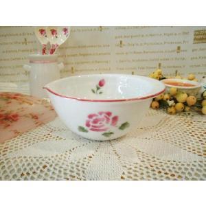 【マニーローズ】 陶器 クッキングボウル M / 日本製 薔薇 キッチン雑貨 ボール バラ柄 花柄 ピンク 小さめ|corrette-anise