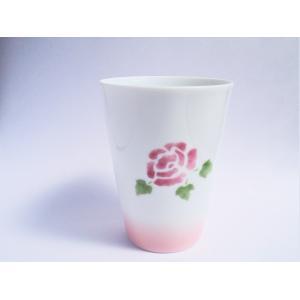 【マニーローズ】 BG タンブラー / 日本製 薔薇 食器 歯磨き バラ柄 花柄 ピンク コップ タンブラー 陶器|corrette-anise