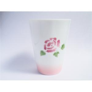 【マニーローズ】 BG タンブラー / 日本製 薔薇 食器 歯磨き バラ柄 花柄 ピンク コップ タンブラー 陶器|corrette-anise|02