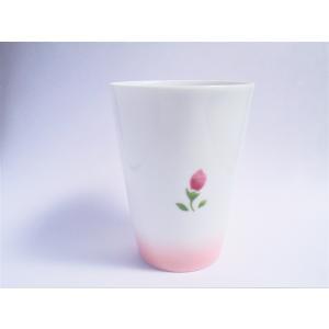【マニーローズ】 BG タンブラー / 日本製 薔薇 食器 歯磨き バラ柄 花柄 ピンク コップ タンブラー 陶器|corrette-anise|03