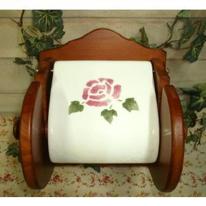 【マニーローズ】 WOOD トイレットペーパーホルダー / トイレ ペーパーホルダー 日本製 薔薇 陶器 レトロ|corrette-anise