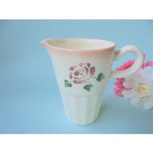 【マニーローズ】 ミルクピッチャー 水差し / 日本製 薔薇 食器 差し水 バラ柄 花柄 ピンク ドレッシングボート カトラリースタンド corrette-anise