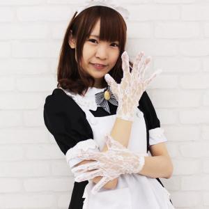 コスプレ 衣装 レースショート手袋 白 DE6043WHホワイト