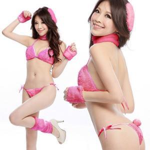 コスプレ ハロウィン ふわもこアニマルビキニセット・ピンク i−372ピンク ハロウィン Halloween