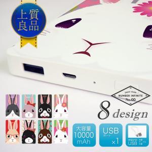 モバイルバッテリー 大容量 薄型 軽量 10000mAh スマートフォン タブレット 充電器 うさぎ デザイン|cosme-market