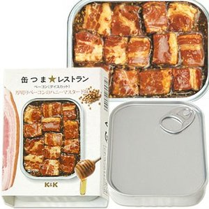 国分 K&K 缶つまレストラン ベーコン(ダイスカット) 厚切りベーコンのハニーマスタード味 固形量65g(内容総量105g)|cosmebox