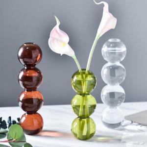 バブル フラワーベース 花瓶 おしゃれ 北欧 グリーン ガラス製 卓上 一輪挿し