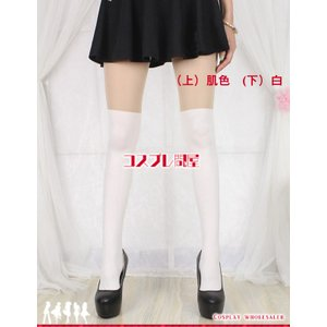 ニーハイ風タイツ・ニーハイ風ストッキング・フェイクタイツ・フェイクストッキング 白 コスプレ衣装|cosplaydonya