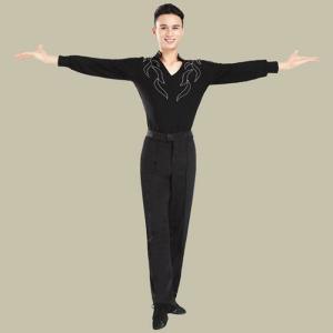 男性社交ダンス衣装 競技着 メンズ ラテンダンス用シャツ 男性用 上着 ダンスウェア 練習着 VネックGTW-AL201|cosplayshop