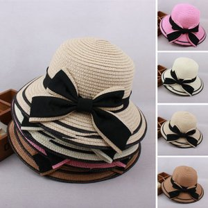 帽子 女の子 親子おそろい キッズ用 ジュニア 子供 夏 新作 麦わら帽子 ビーチハット ハット UVカット 日よけ 紫外線対策 日焼け対策 リボンJZAH1-AL111|cosplayshop