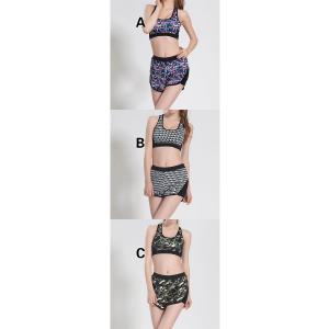 ヨガウェア 二点セット レディース トップス ヨガパンツ フィットネス ダンス 動きやすい トレーニング 吸汗速乾 超軽量 タイト 着痩せ パンツ 迷彩柄YUD-AL299|cosplayshop|02