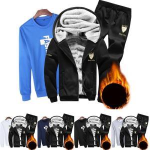 スポーツウェア スウェットセット メンズ 3点セット 冬 新作 裏起毛 あったか 防寒保温 ランニング スポーツ フード付き オシャレYUDB-AL22|cosplayshop