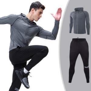 トレーニングウェア スポーツウェア メンズ フィットネス 三点セット 動きやすい ランニング トレーニング 吸汗速乾 超軽量 レギンス 長袖YUDQ-AL153 cosplayshop