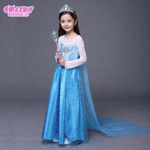 アナと雪の女王 エルサ コスプレ 衣装 ハロウィン 子供用ドレス お姫様 仮装 発表会 ディズニー ティアラとステッキ付き