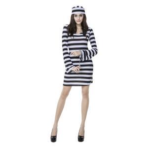 ハロウィン 囚人服 コスプレ 衣装 大人用 コスチューム 仮装 舞台服 イベント 学園祭 2着以上送料無料|cossky