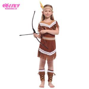 6039ff30cb685 ハロウィン コスプレ 子供用 インディアン ハンター コスプレ 衣装 パーティー 演出服 送料無料