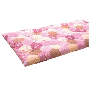 越後ふとん 軽量タイプ手作り綿わた敷きふとん シングル 桜柄ピンク系・25879 costsaver