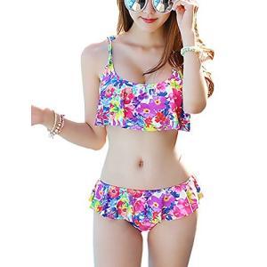 (コタロン)COTARON 水着 レディース バンドゥ ビキニ セット 花柄 フリル ビタミンカラー 体型カバー|cotaron-shop